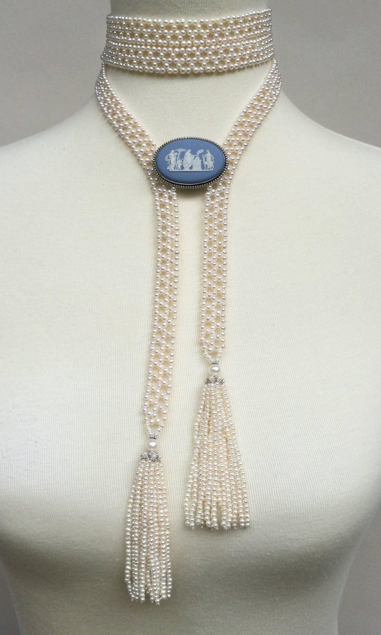 Marina J Pearl Tassel Sautoir with White Gold and Pearl Tassels For Sale 2