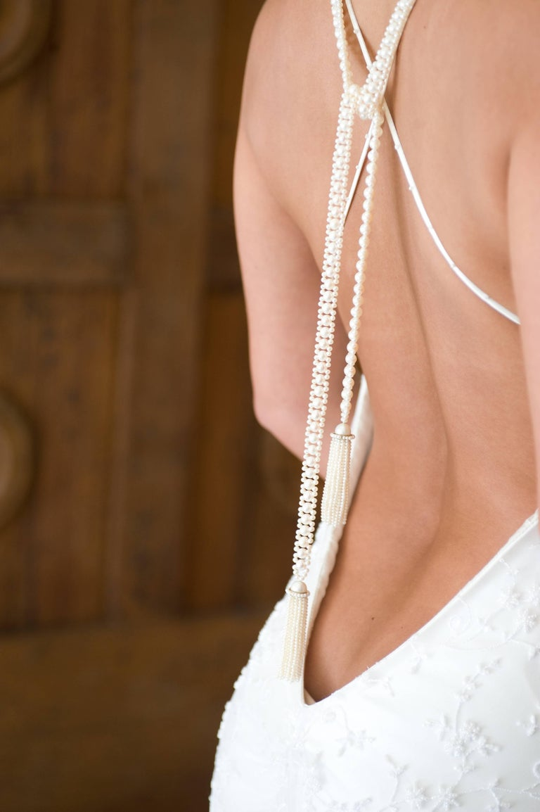 Marina J Pearl Tassel Sautoir with White Gold and Pearl Tassels For Sale 4