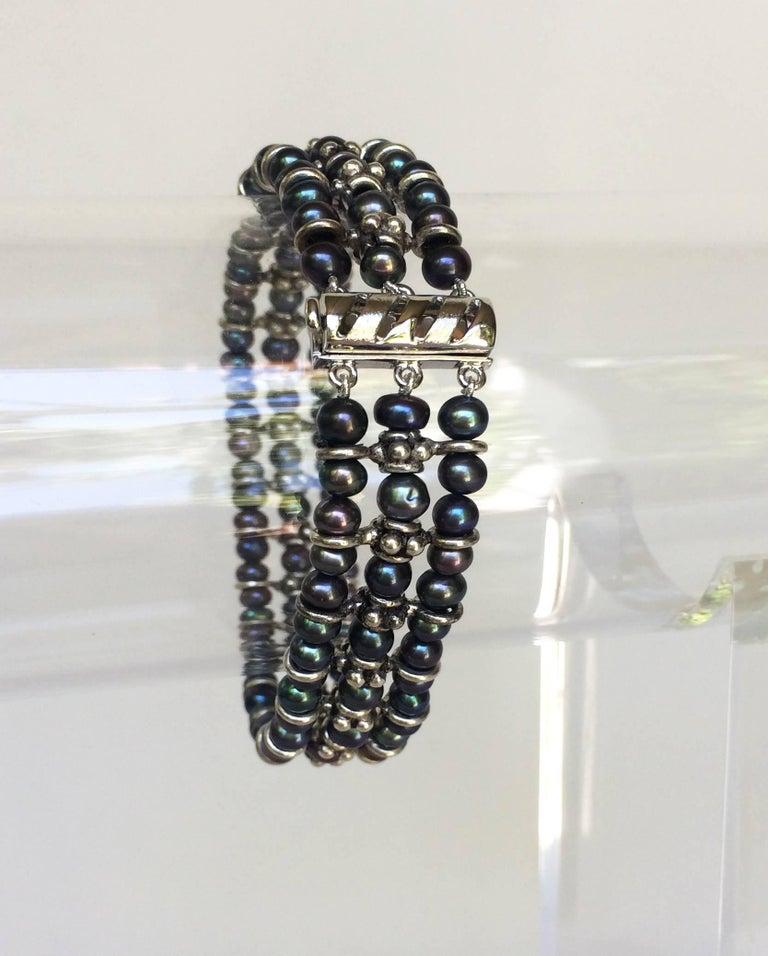 Artist Marina J Black Pearl and Silver Bracelet For Sale