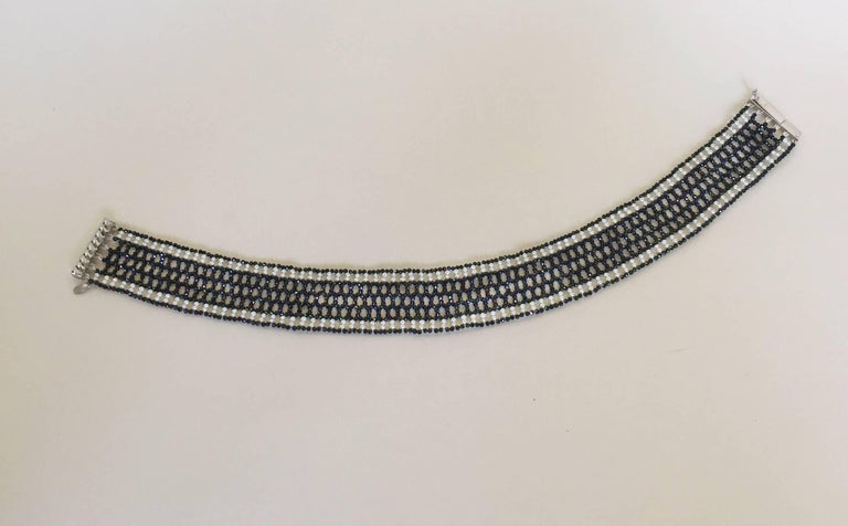Women's Woven Black Spinel and White Pearl Choker with a 14k White Gold Plated Clasp For Sale