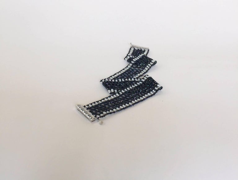 Woven Black Spinel and White Pearl Choker with a 14k White Gold Plated Clasp For Sale 1