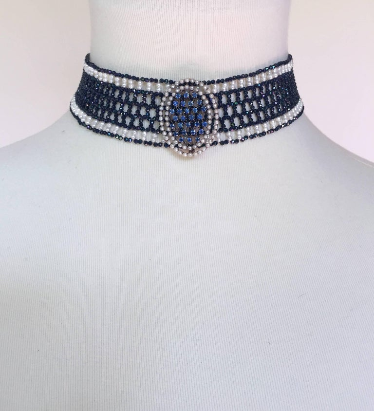 Woven Black Spinel and White Pearl Choker with a 14k White Gold Plated Clasp For Sale 2