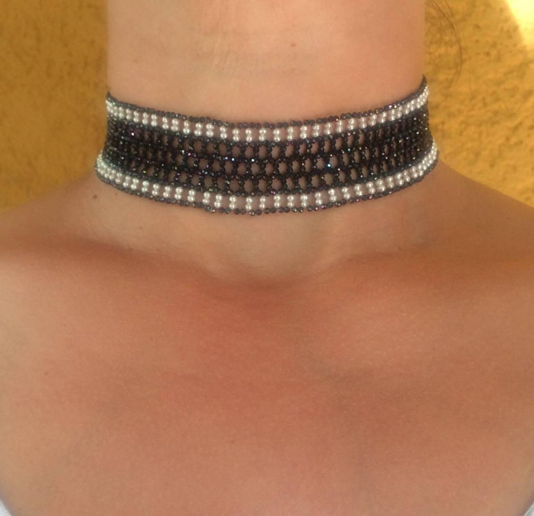 Woven Black Spinel and White Pearl Choker with a 14k White Gold Plated Clasp For Sale 4