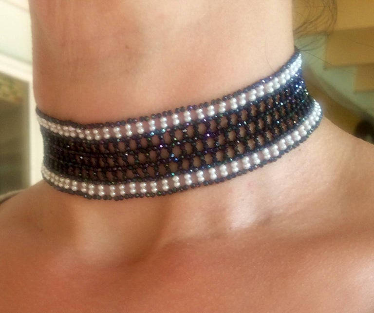 Woven Black Spinel and White Pearl Choker with a 14k White Gold Plated Clasp For Sale 5