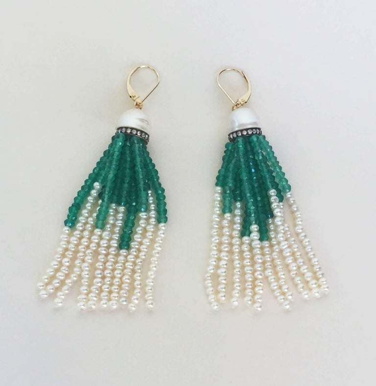 Half Pearl with Diamonds and Green Onyx and Pearl Tassel Earrings by Marina J In New Condition For Sale In Beverly Hills, CA