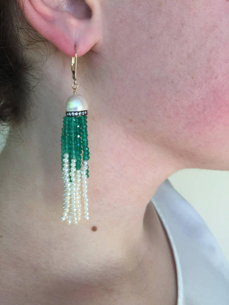 Women's Half Pearl with Diamonds and Green Onyx and Pearl Tassel Earrings by Marina J For Sale