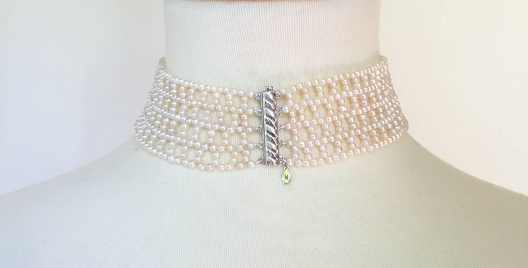 Artist Wide Woven White Pearl Choker by Marina J For Sale