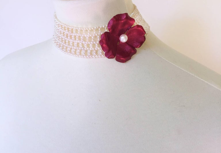 Wide Woven White Pearl Choker by Marina J In As New Condition For Sale In Beverly Hills, CA