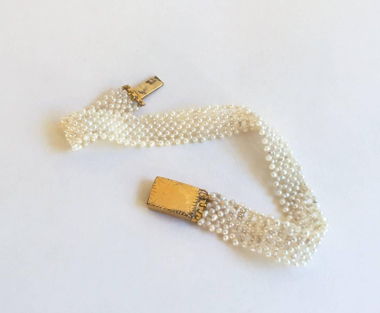 Woven Seed Pearl Bracelet with 18 Karat Gold-Plated Silver Clasp by Marina J 6