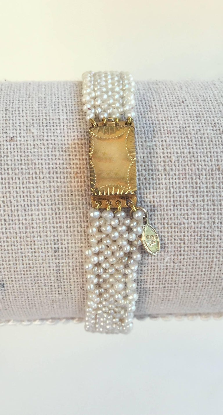 Marina J Woven Seed Pearl Bracelet with Vintage Gold clasp In Excellent Condition For Sale In Beverly Hills, CA
