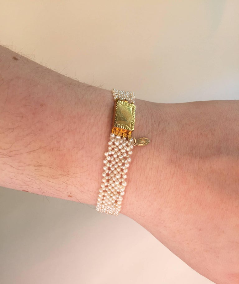 Artist Marina J Woven Seed Pearl Bracelet with Vintage Gold clasp For Sale