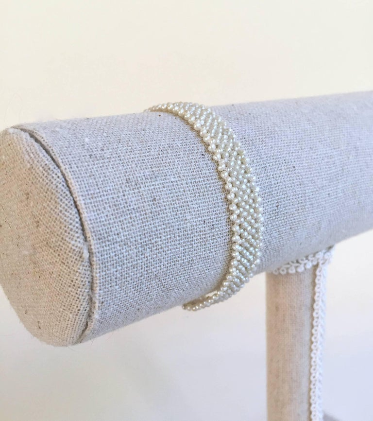 Woven Seed Pearl Bracelet with 18 Karat Gold-Plated Silver Clasp by Marina J 4