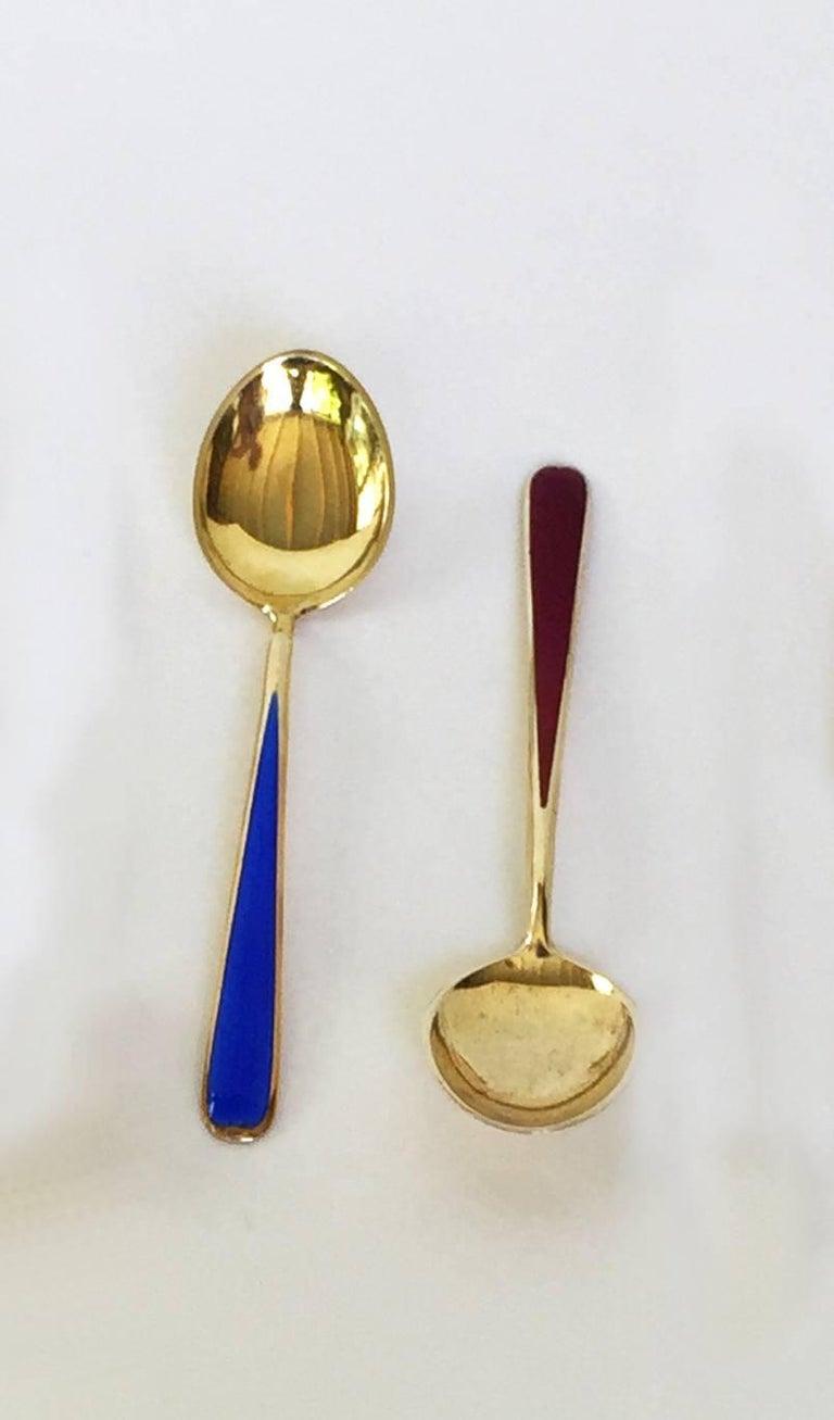 Women's or Men's Multi-Color Enameled Norwegian Sterling Silver Miniature Coffee Spoon Set For Sale