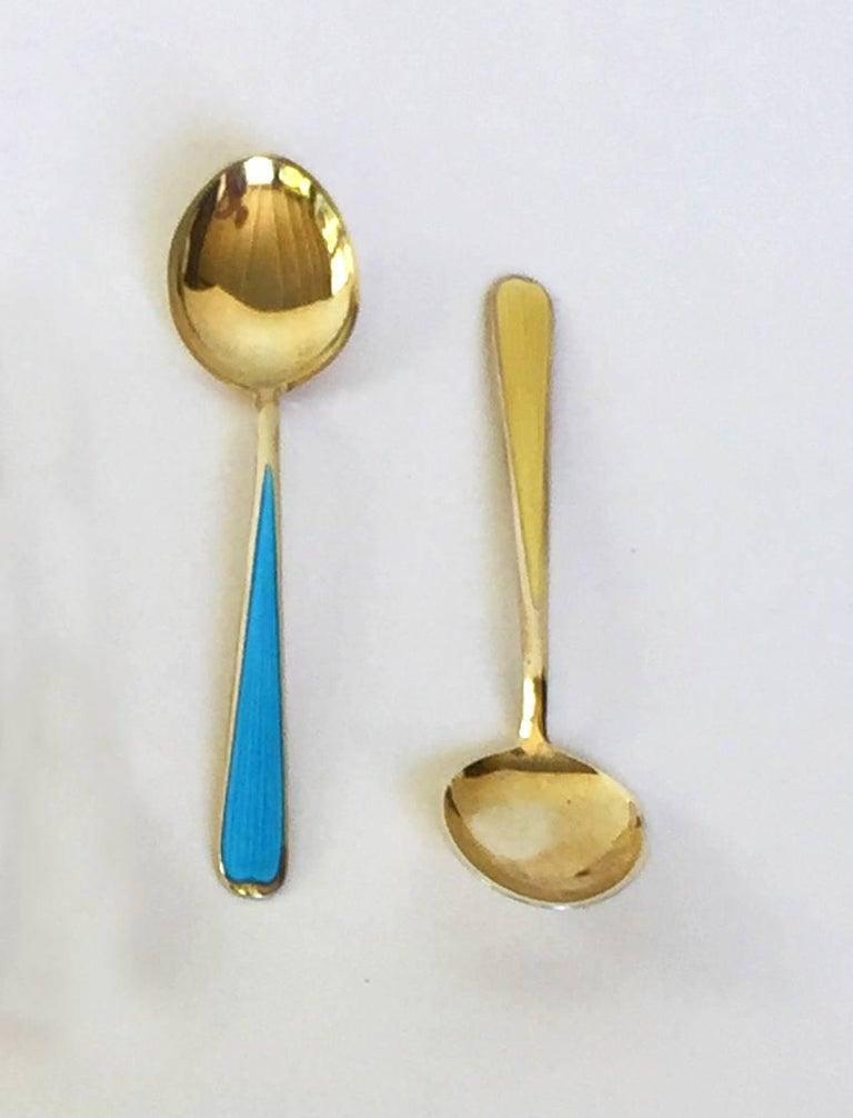 Multi-Color Enameled Norwegian Sterling Silver Miniature Coffee Spoon Set For Sale 1