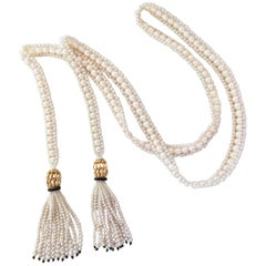 White Woven Pearl Sautoir with Pearl Tassels and Onyx Detailing by Marina J