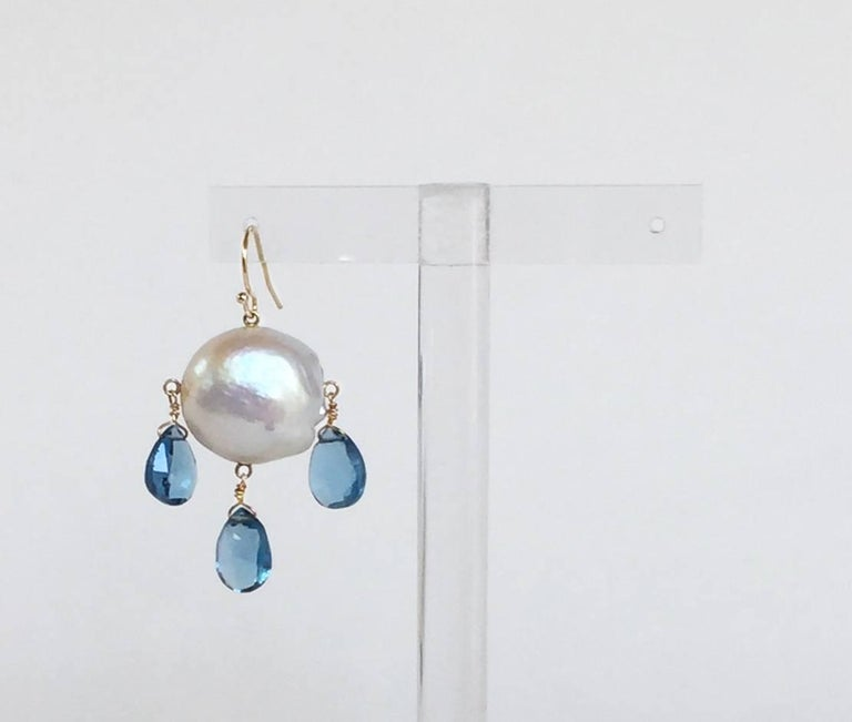 Women's Blue Topaz Drop and Baroque Pearl Earrings For Sale