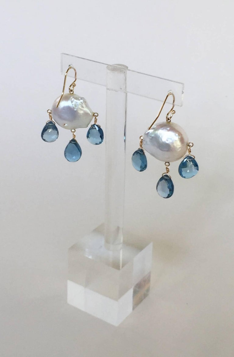 Blue Topaz Drop and Baroque Pearl Earrings In As New Condition For Sale In Beverly Hills, CA