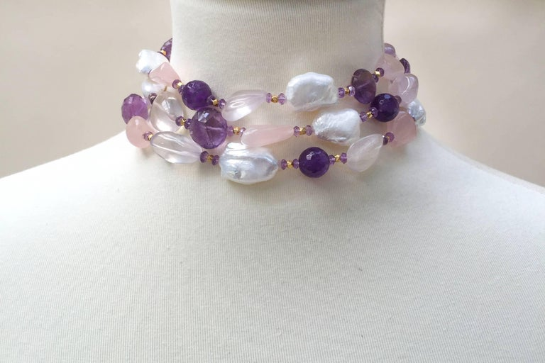 Rose Quartz, Amethyst, Pearl Beaded sautoir with Tassel and 14 k Gold Clasp  For Sale 2