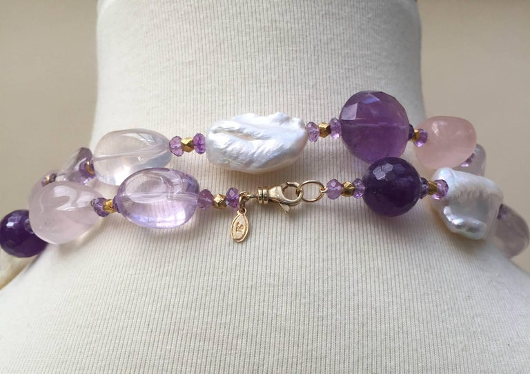 Rose Quartz, Amethyst, Pearl Beaded sautoir with Tassel and 14 k Gold Clasp  For Sale 4