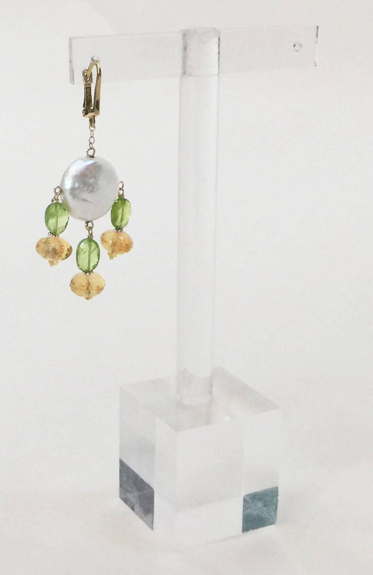 Artist Marina J. Critrine & Peridot Pearl Earrings with 14 Karat Yellow Gold Lever Back For Sale