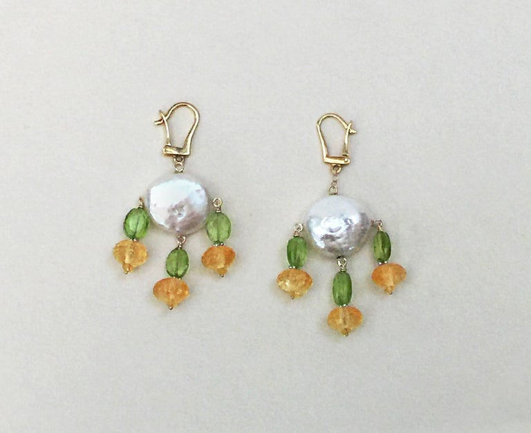 Marina J. Critrine & Peridot Pearl Earrings with 14 Karat Yellow Gold Lever Back In New Condition For Sale In Beverly Hills, CA