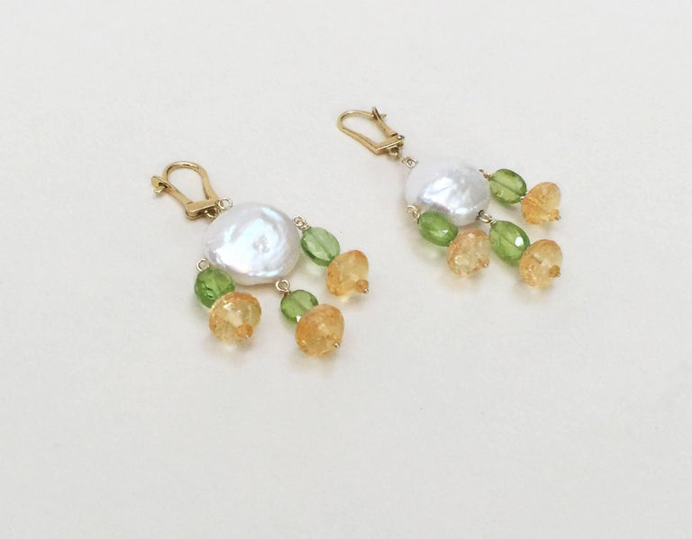 Women's Marina J. Critrine & Peridot Pearl Earrings with 14 Karat Yellow Gold Lever Back For Sale