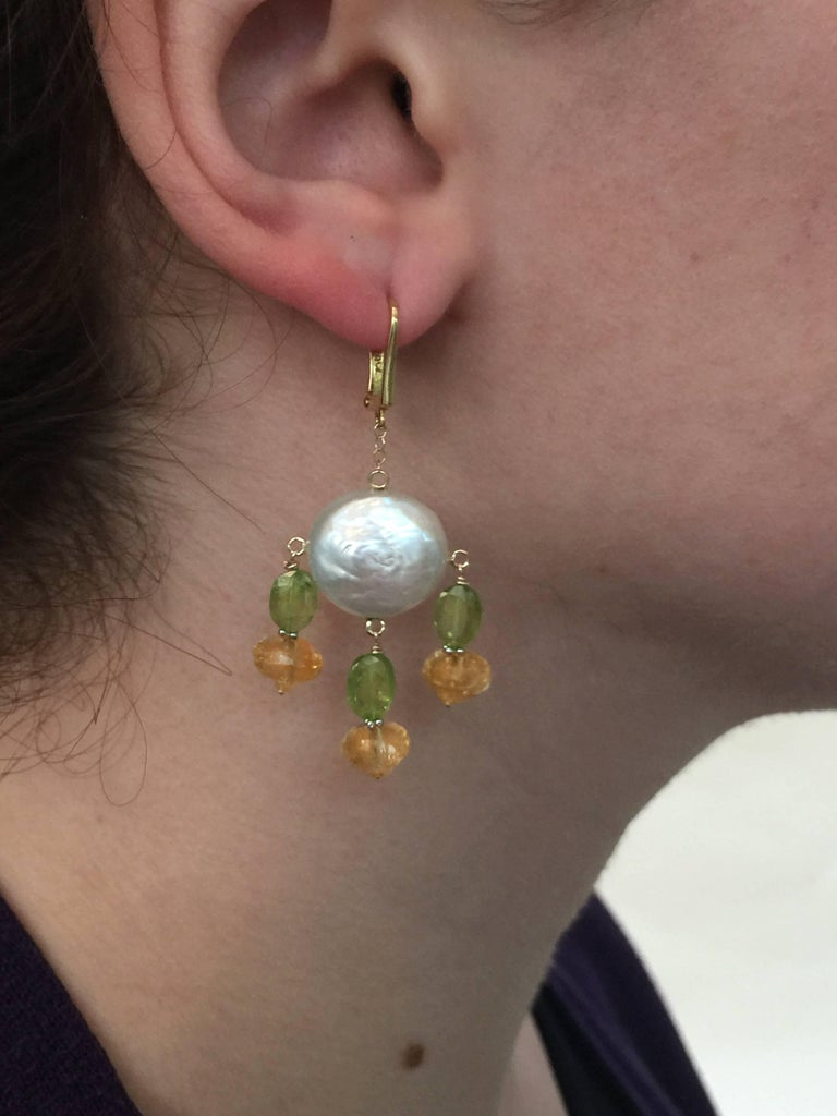 Marina J. Critrine & Peridot Pearl Earrings with 14 Karat Yellow Gold Lever Back For Sale 1
