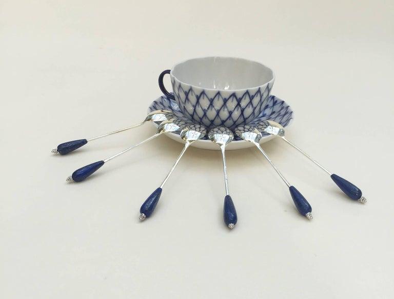 Six English Silver Plated Tea Spoon Set with Lapis Lazuli by Marina J 7