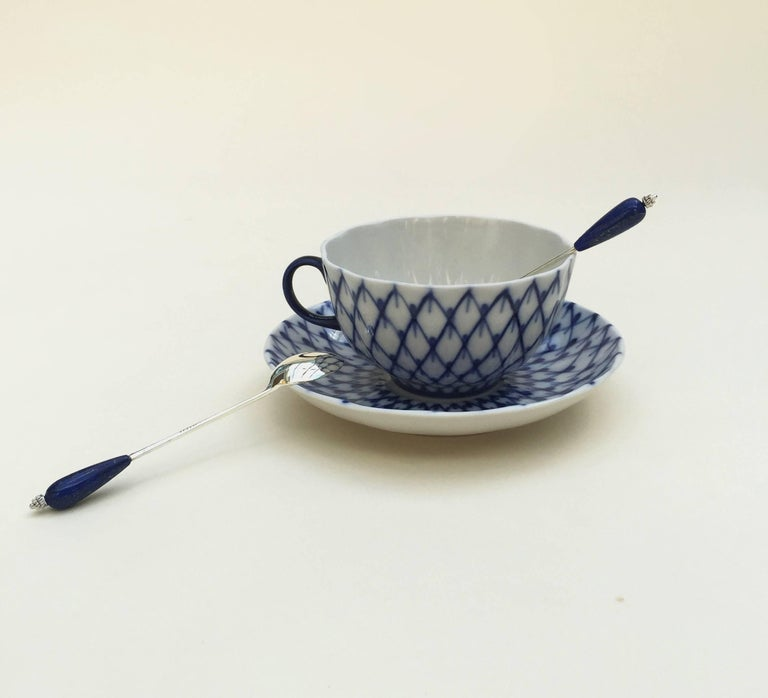 Artist Six English Silver Plated Tea Spoon Set with Lapis Lazuli by Marina J For Sale