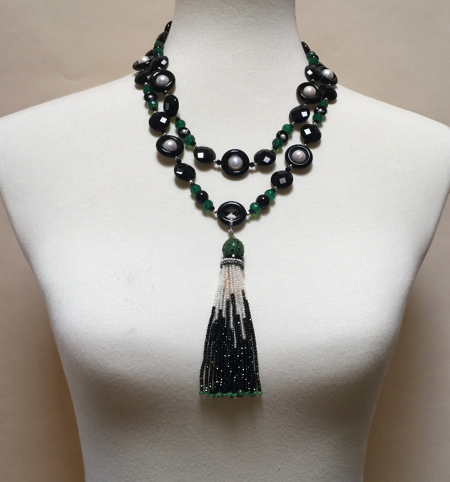 mend green stacks necklace products onyx jewelry