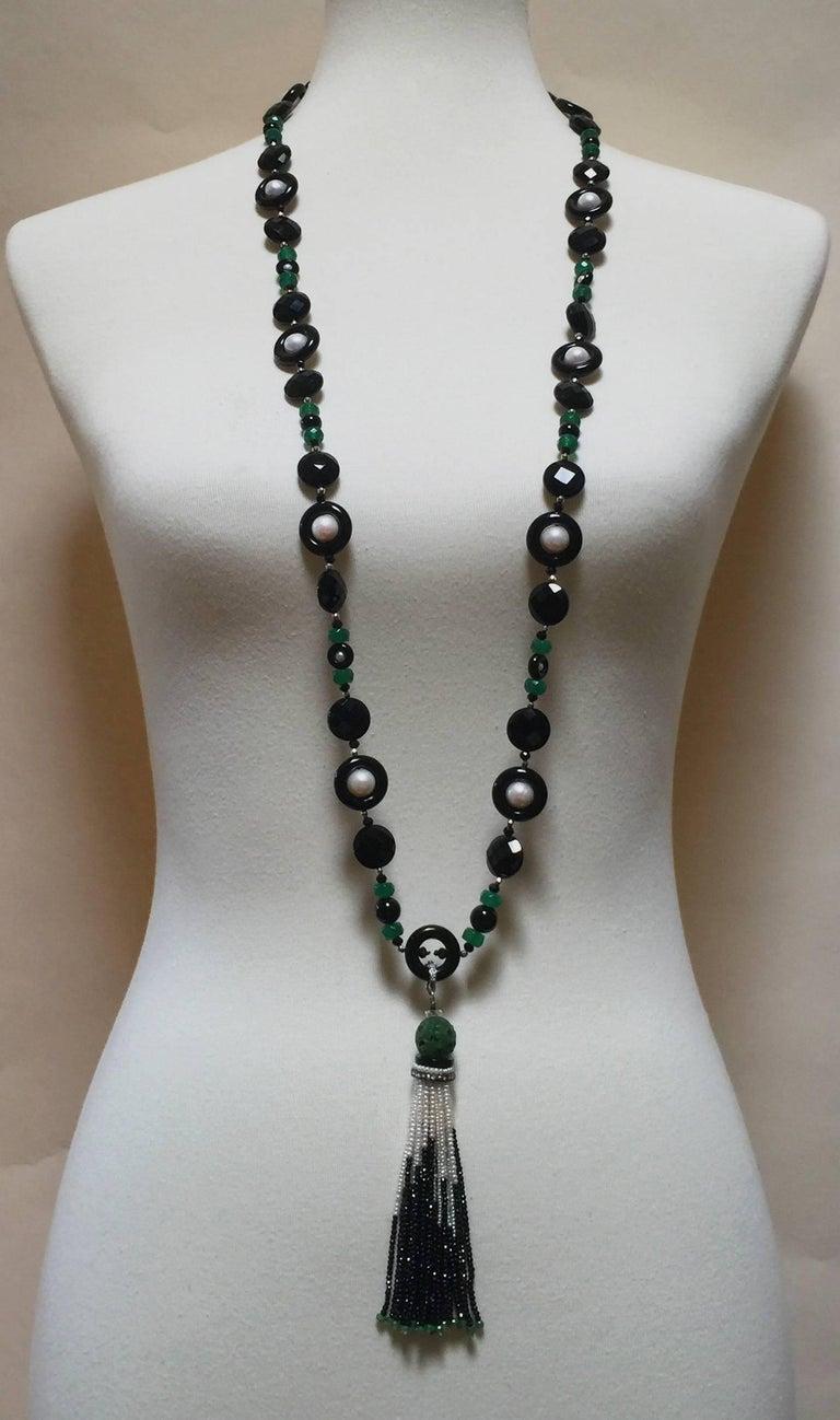 Marina J Black and Green Onyx Pearl Sautoir For Sale 1