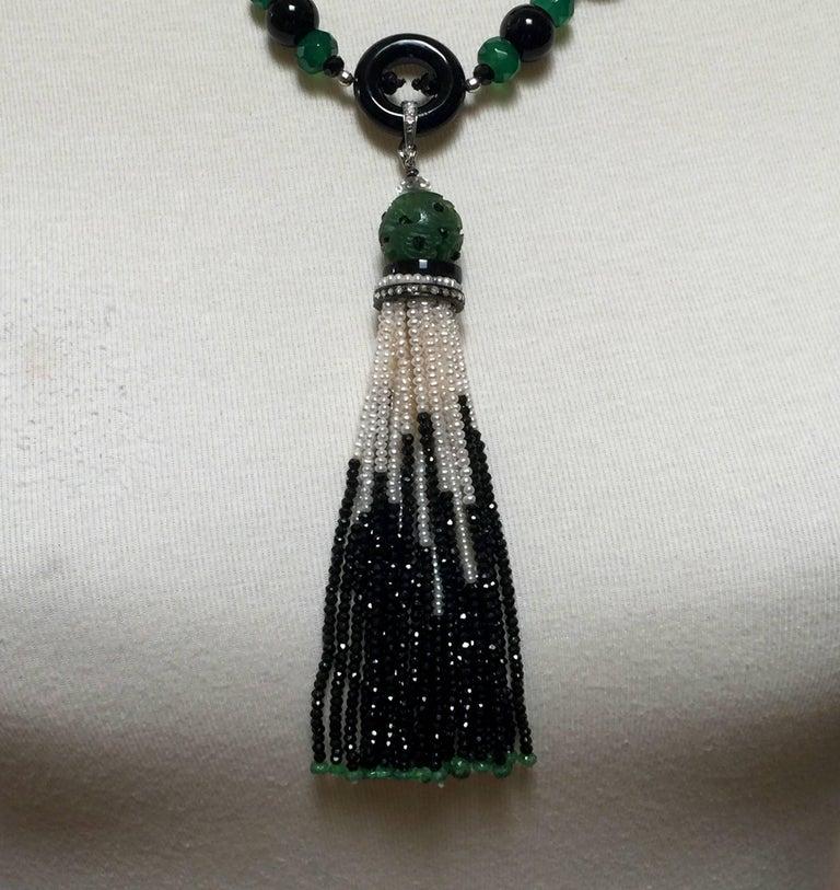 Marina J Black and Green Onyx Pearl Sautoir For Sale 2