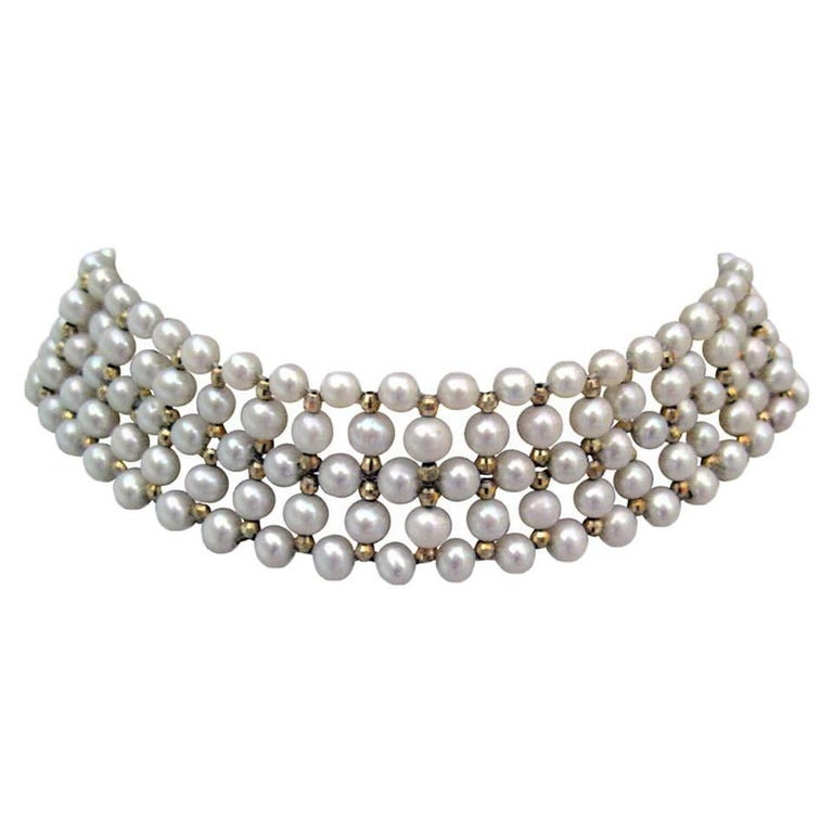 Woven cultured Pearls, 14 k yellow Gold Choker Necklace by Marina J.
