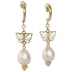 Marina J Drop Pearl Earring with Vintage White Enamel Butterfly