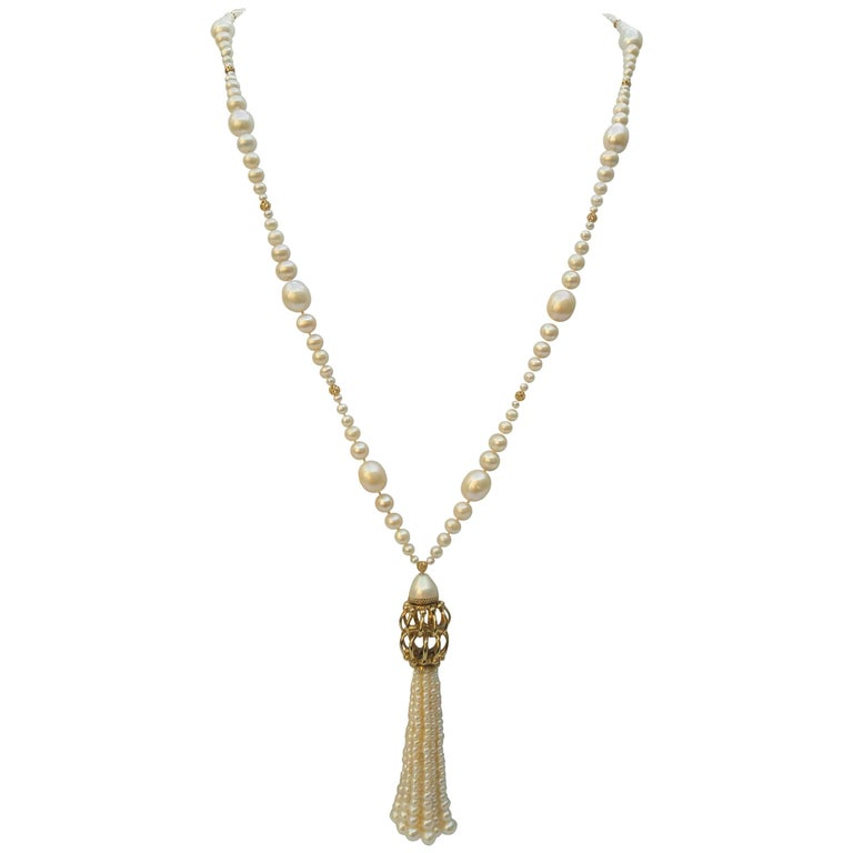 Graduated Pearl Long Lariat Tassel Necklace with Filigree Centerpiece and Beads