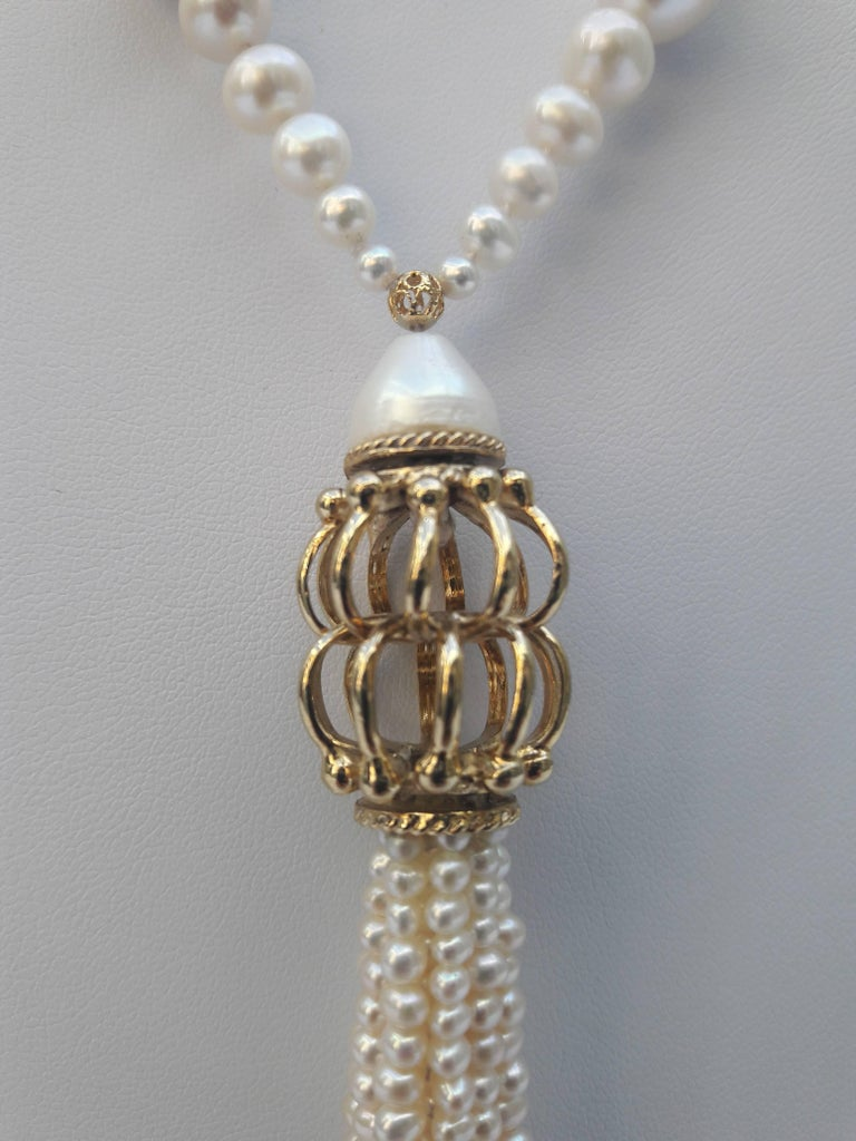 Artist Graduated Pearl Long Lariat Tassel Necklace with Filigree Centerpiece and Beads