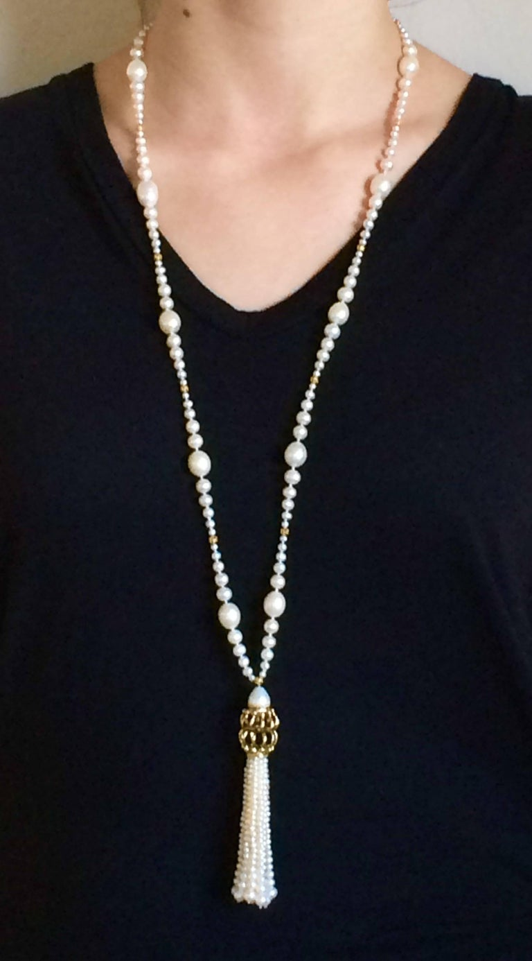 Graduated Pearl Long Lariat Tassel Necklace with Filigree Centerpiece and Beads  In New Condition In Beverly Hills, CA