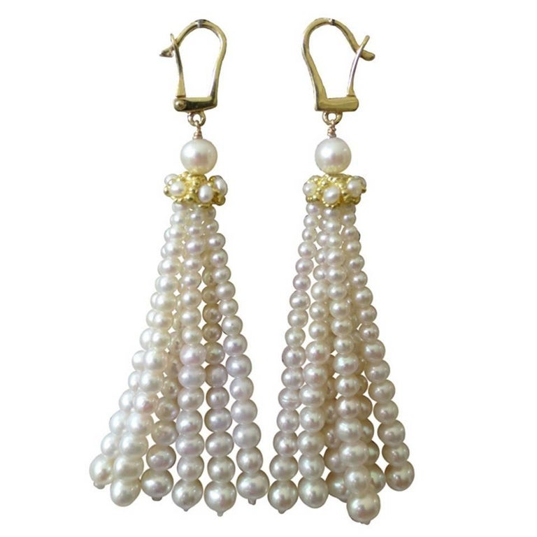 Graduated Pearl and 14 k yellow Gold Tassel Earrings by Marina J