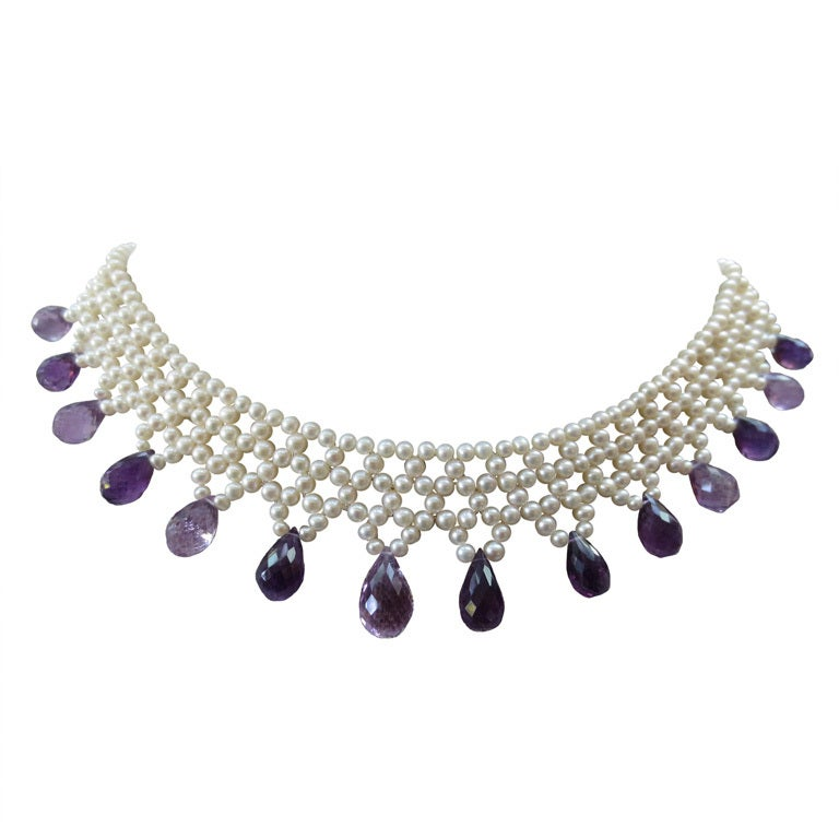 Woven Pearl Necklace w. Faceted Amethyst Teardrop Briolettes & 14 K Gold Clasp