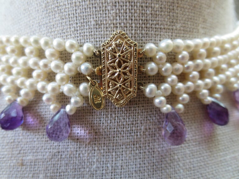 Contemporary Marina J Woven Pearl Necklace with Faceted Amethyst Briolettes & 14K Gold Clasp  For Sale