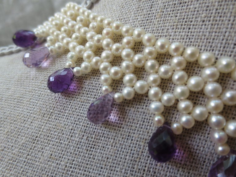 Bead Marina J Woven Pearl Necklace with Faceted Amethyst Briolettes & 14K Gold Clasp  For Sale