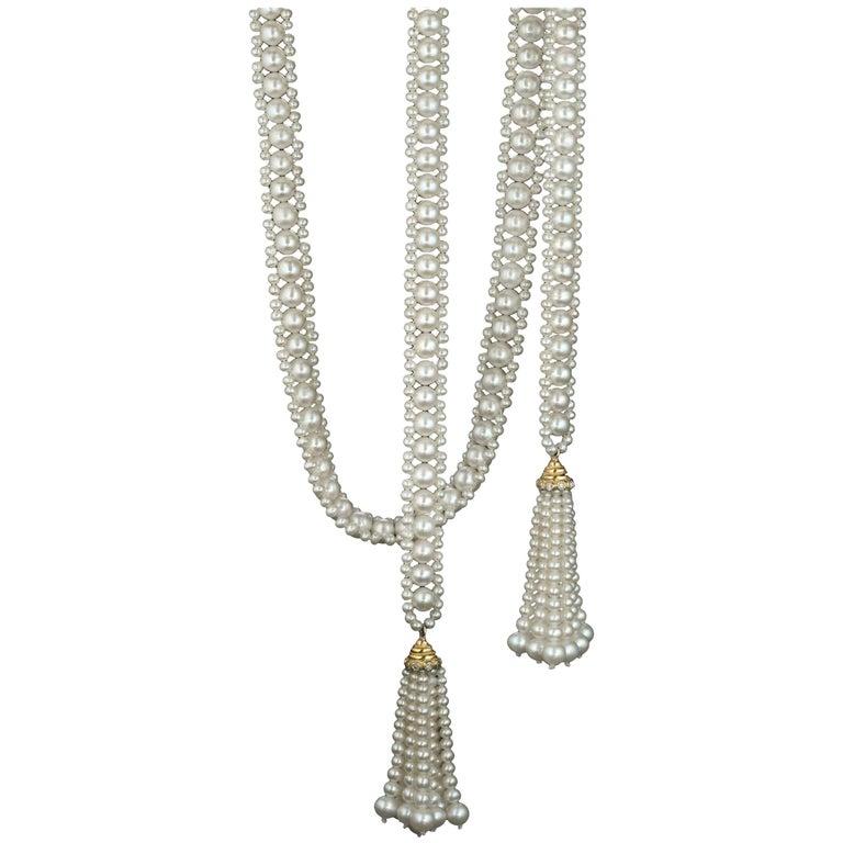 Pearl Sautoir with 14 Karat Gold and Diamond Cup and Pearl Tassels by Marina J.