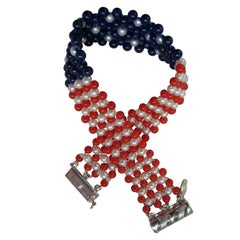 Pearl, Lapis and Coral Bead Bracelet Woven in American Flag Pattern