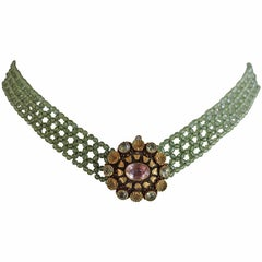 Woven Faceted Peridot Beaded Necklace with Gold Clasp