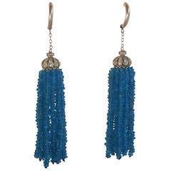 London Blue Topaz Tassel and Silver Gold Plate and Diamond Cup Earrings