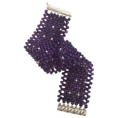 Woven Faceted Amethyst Cuff Bracelet with Sterling Silver Clasp and Beads