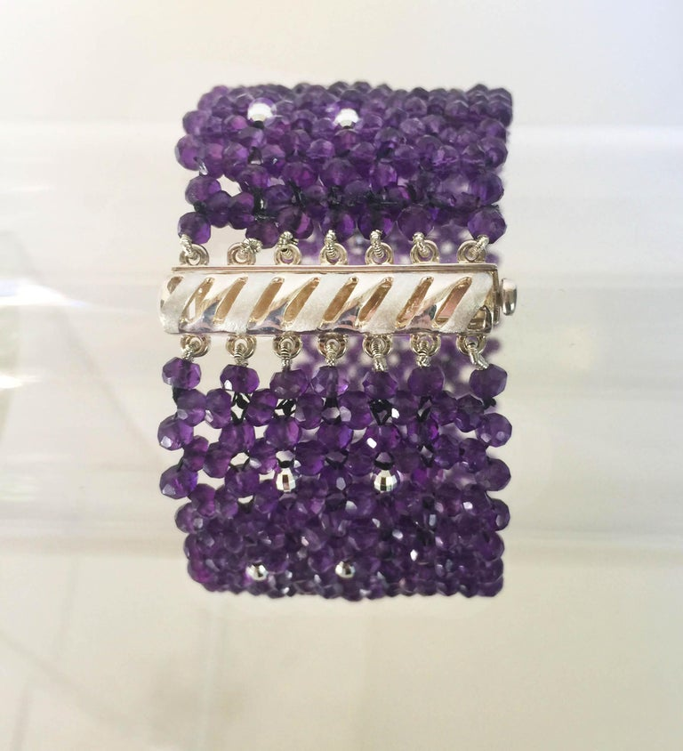 Artist Woven Faceted Amethyst Cuff Bracelet with Sterling Silver Clasp and Beads For Sale