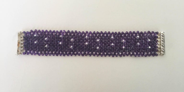 Women's Woven Faceted Amethyst Cuff Bracelet with Sterling Silver Clasp and Beads For Sale