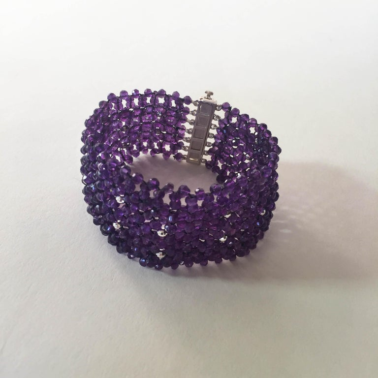 Woven Faceted Amethyst Cuff Bracelet with Sterling Silver Clasp and Beads For Sale 2