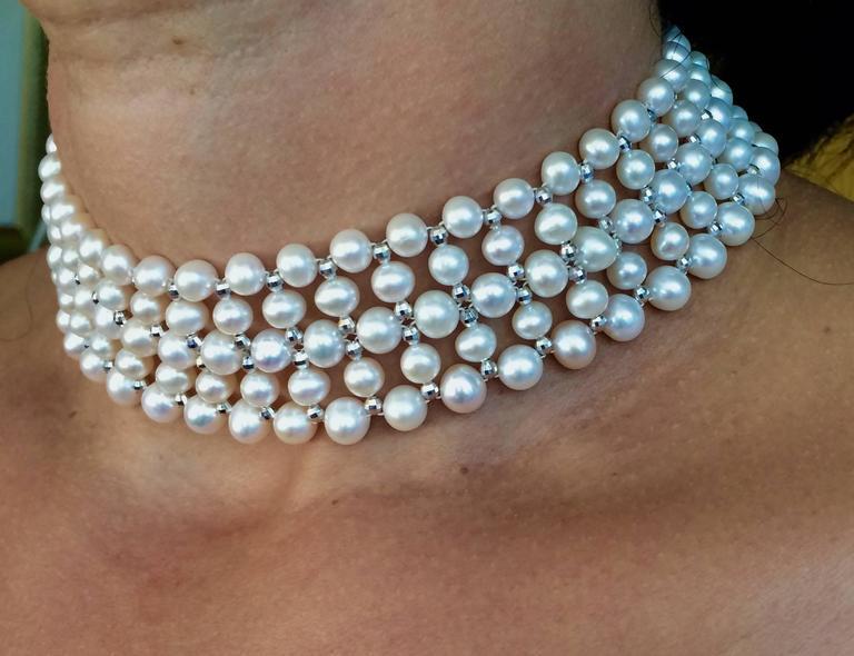 Marina J. Woven Pearl, Gold Choker Necklace 4